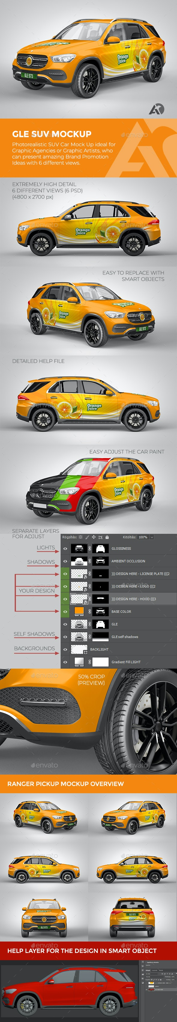 GLE SUV Mock Up for Brand Promotions - Vehicle Wraps Print