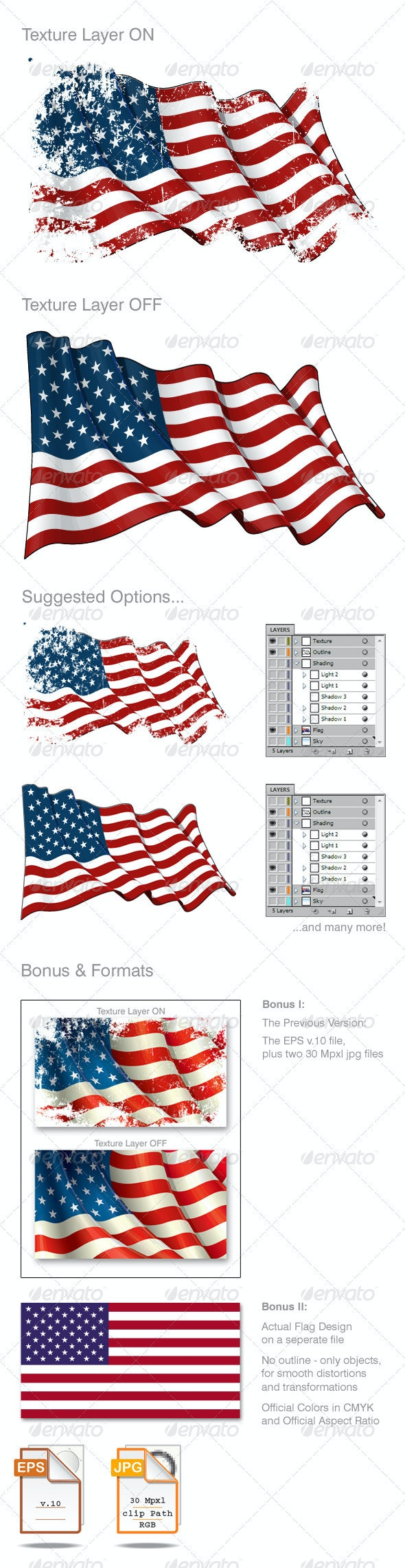 American Flag Grunge - Backgrounds Decorative