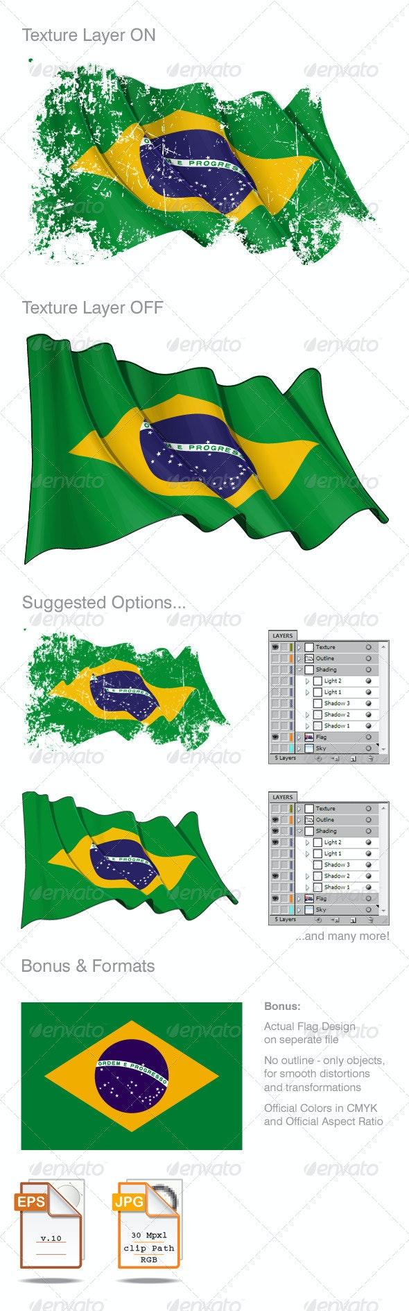 Brazilian Flag Grunge - Backgrounds Decorative