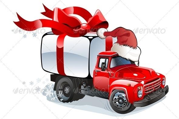 Cartoon Christmas Cargo Truck - Christmas Seasons/Holidays