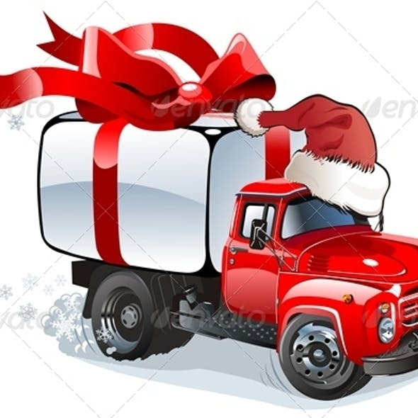 Cartoon Christmas Cargo Truck