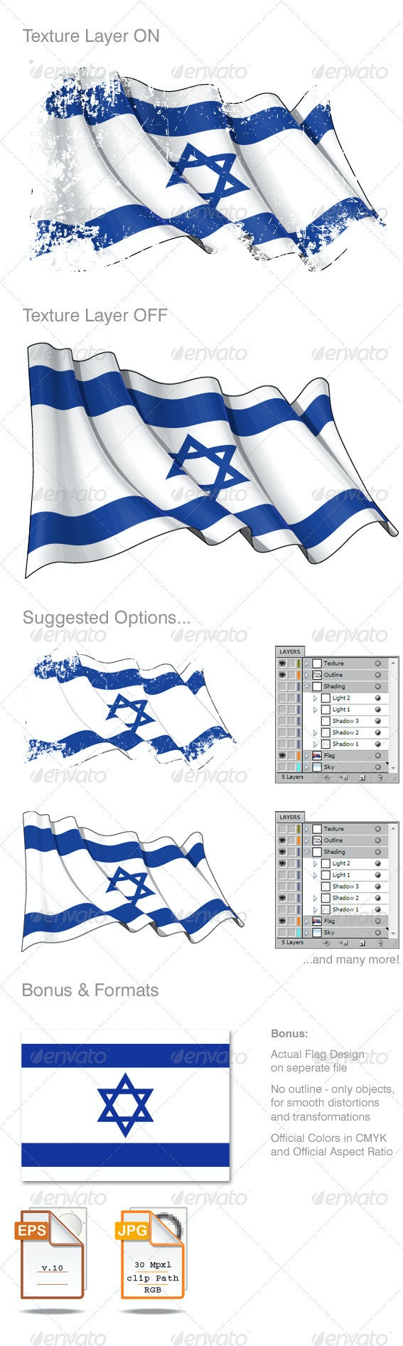 Israel rgentina Flag Grunge - Backgrounds Decorative