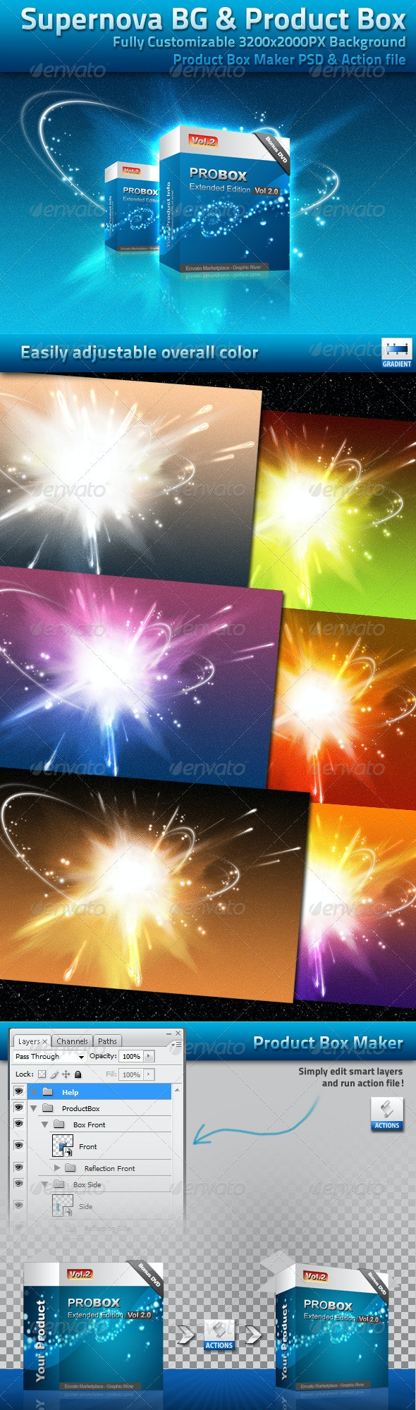 Supernova Background With Product Box - Abstract Backgrounds