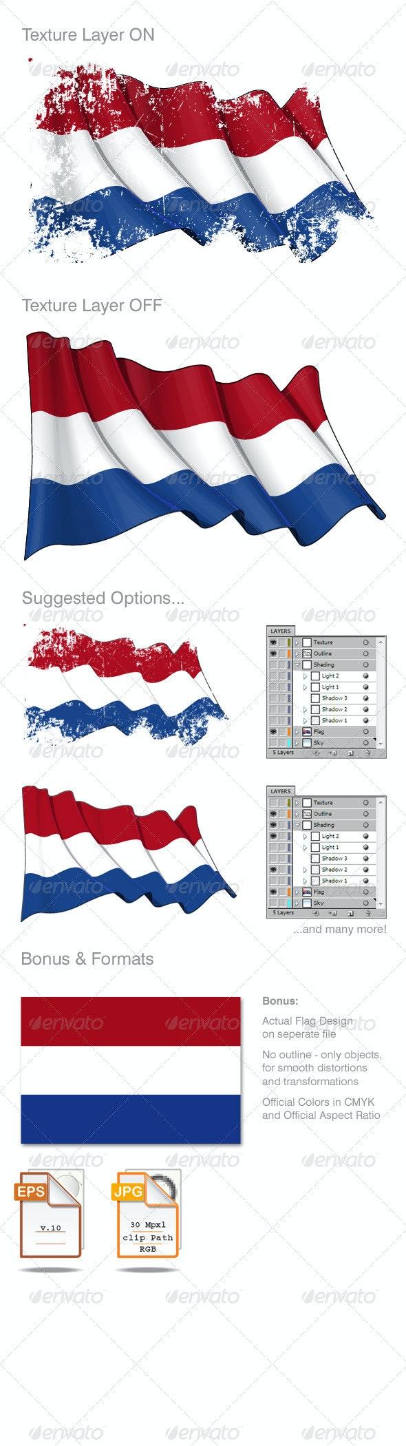 Netherlands Flag Grunge - Backgrounds Decorative