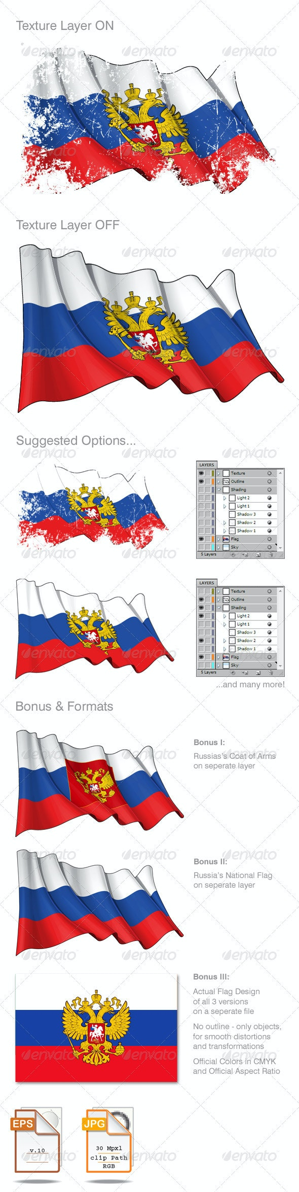 Russia Flag Grunge - Backgrounds Decorative