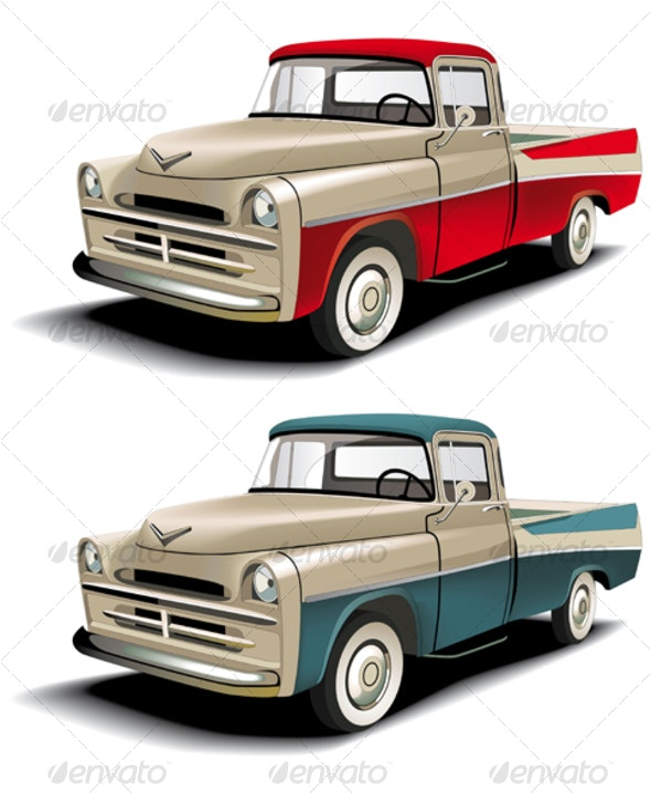 50s styles pickup - Objects Vectors