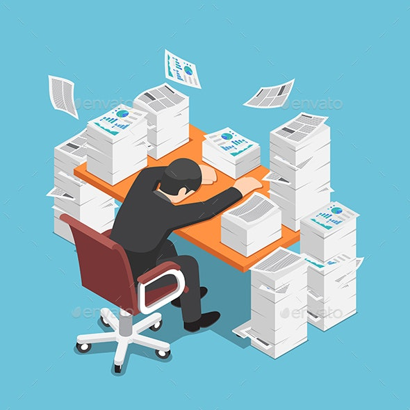 Isometric Tired Businessman Asleep at Office Desk - Concepts Business