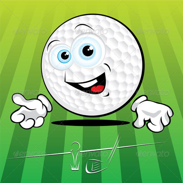 Funny smiling golf ball