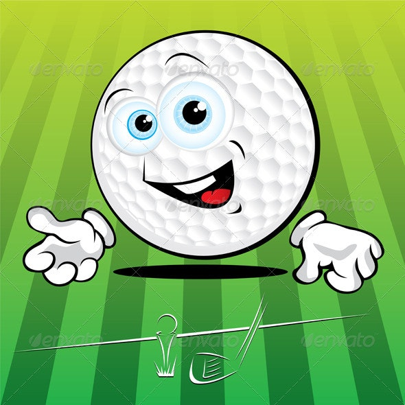 Funny smiling golf ball - Characters Vectors