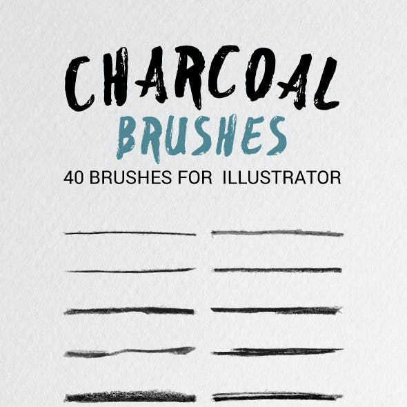 40 Illustrator Charcoal Brushes