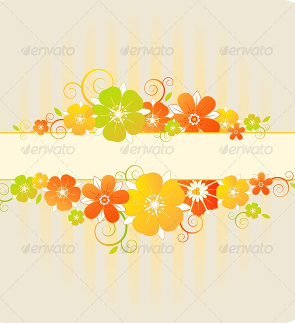 Background with Red and Orange Flowers - Backgrounds Decorative