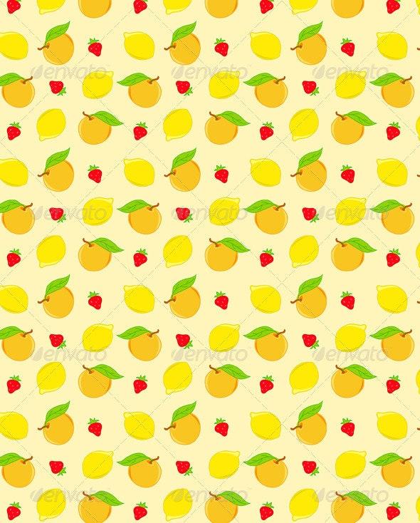 Seamless Pattern with Lemon and Orange  - Patterns Decorative