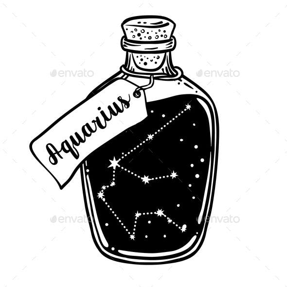 Glass Bottle with Zodiac Aquarius Constellation