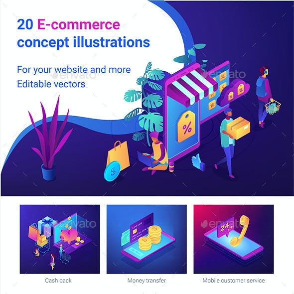 Isometric E-Commerce Concept Vector Illustrations