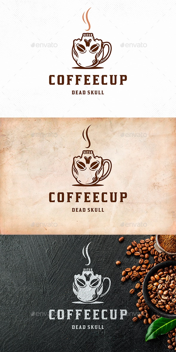 Skull Coffee Cup Logo Template - Restaurant Logo Templates