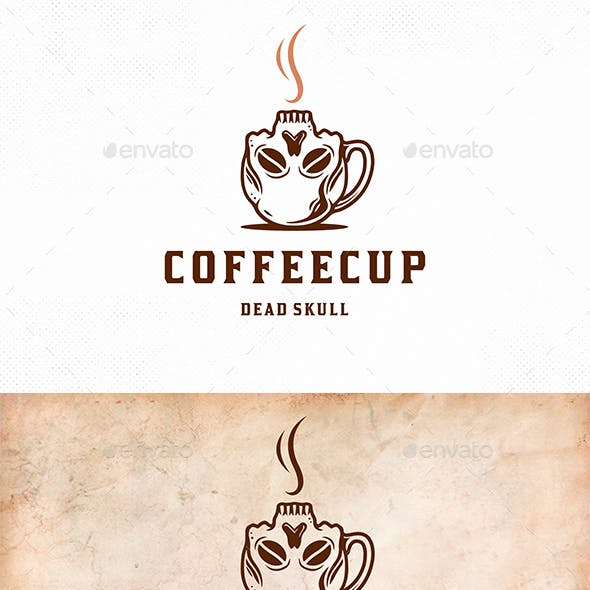 Skull Coffee Cup Logo Template