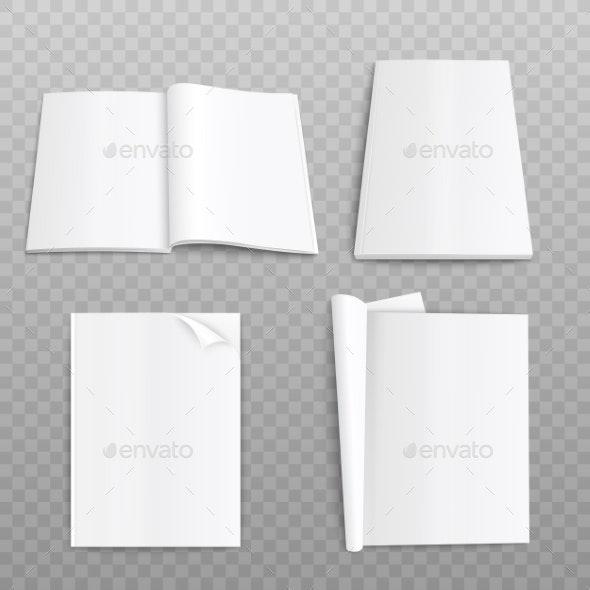 Realistic Paper Magazine Mockup - Backgrounds Decorative