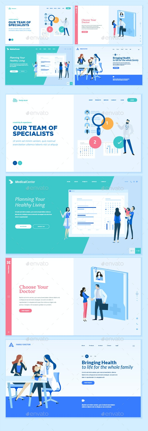 Medicine and Healthcare Web Page Design Templates - Web Elements Vectors