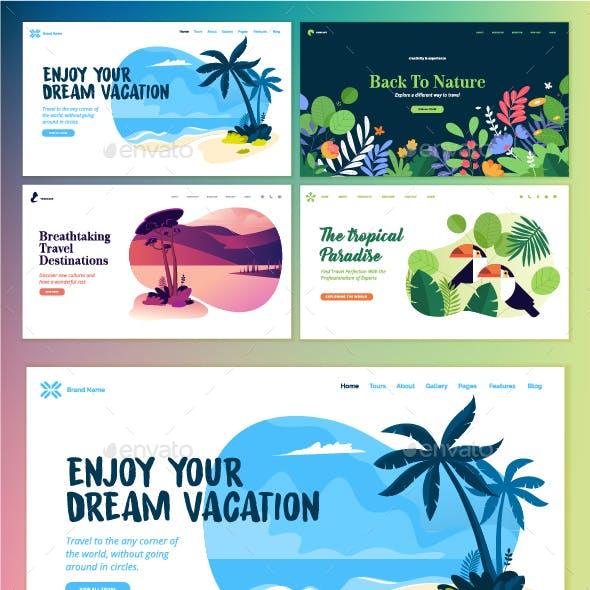 Set of Flat Design Web Page Templates