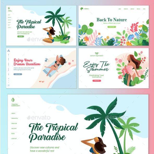 Set of Flat Design Web Page Templates