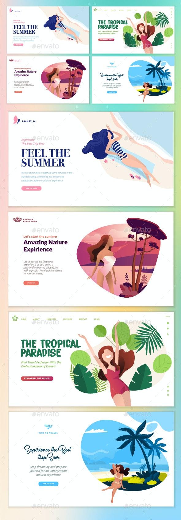 Set of Flat Design Web Page Templates - Web Elements Vectors