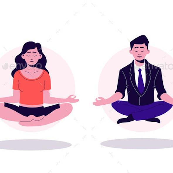 Pretty Cartoon Yogi Woman and Business Man Sitting