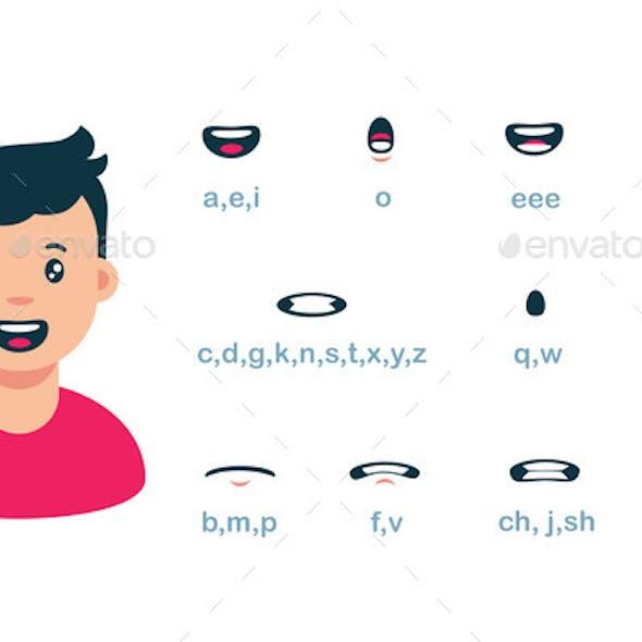 Cartoon Male Mouth Lip Sync Set of Speech