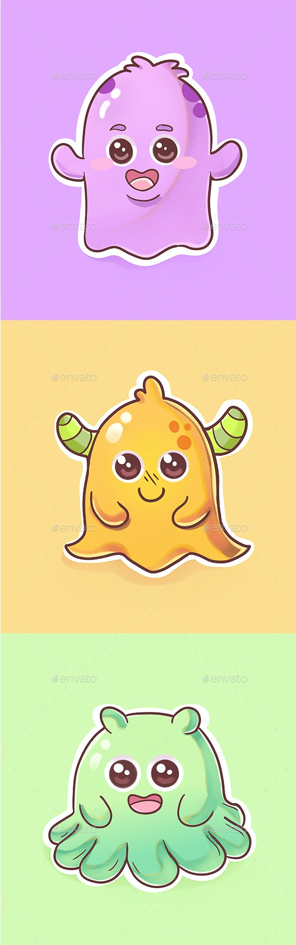 Cute Monster character - Characters Illustrations