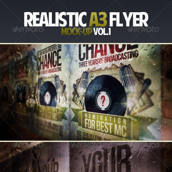 Realistic A3 Flyer Mock-up