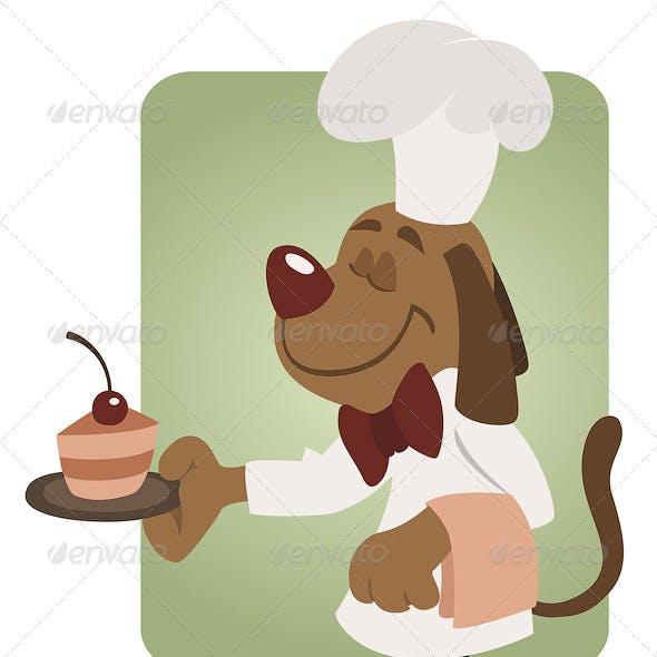 Elegant Waiter Dog At Restaurant