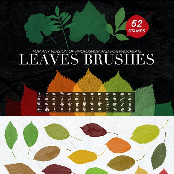 52 Leaves Photoshop Stamp Brushes