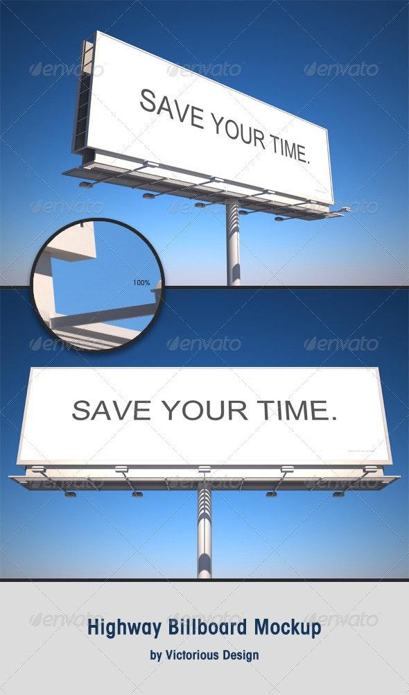 Highway Billboard Mockup - Signage Print