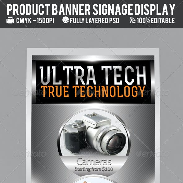 Multi-Product Outdoor Signage Display PSD Template