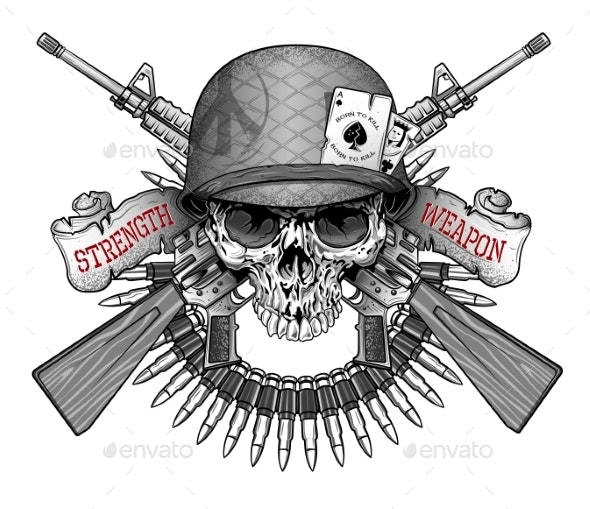 Skull Emblem in an Army Helmet with a Weapon - Miscellaneous Vectors