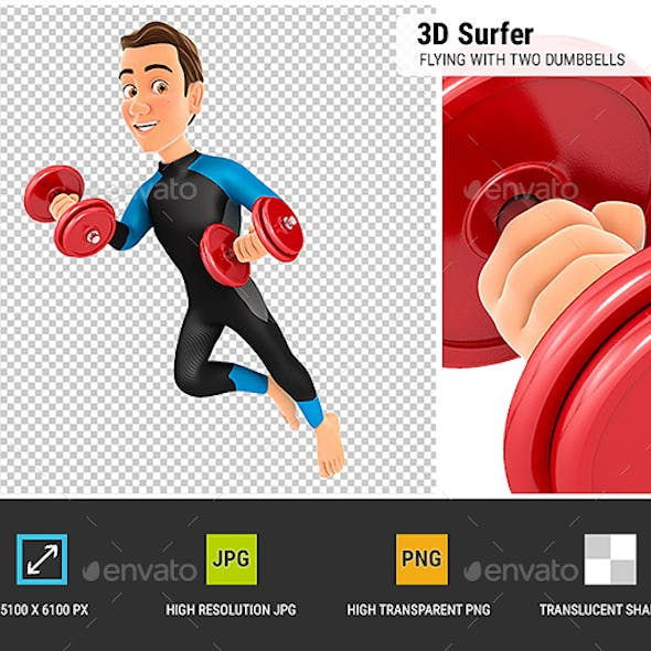 3D Surfer Flying with Two Dumbbells