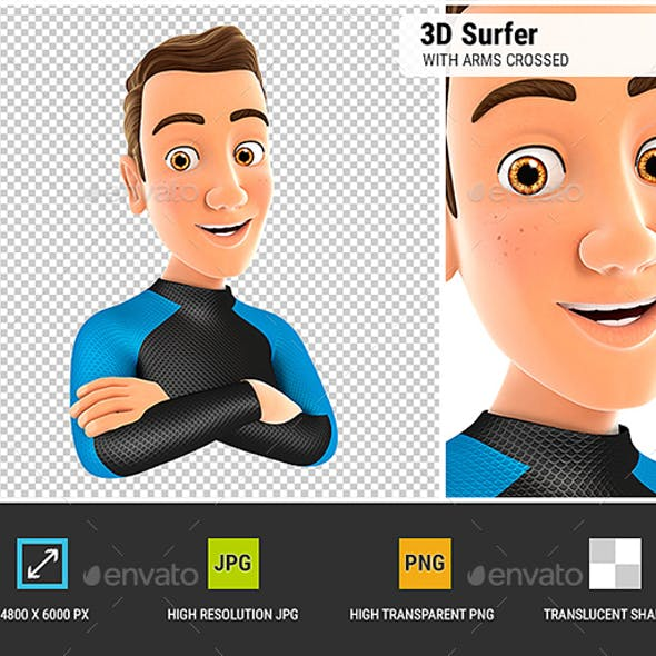 3D Surfer with Arms Crossed