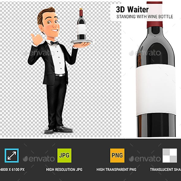 3D Waiter Standing with Wine Bottle and Thumb Up