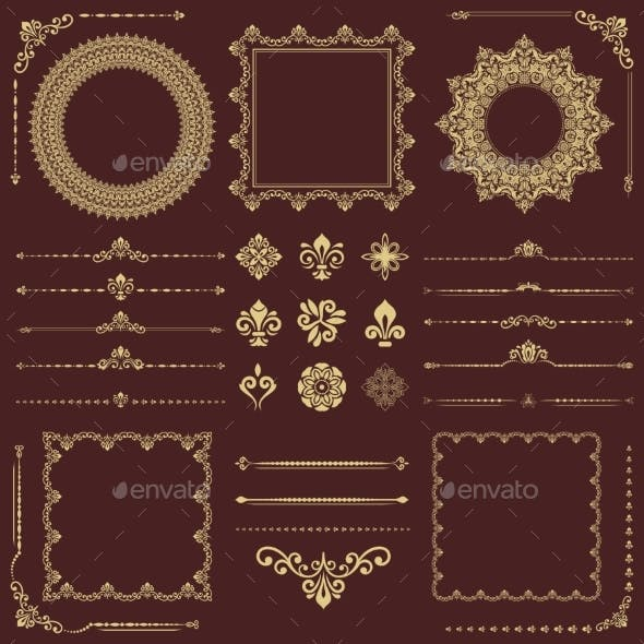 Vintage Set of Vector Horizontal, Square and Round