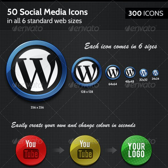 50 Badge-like Social Media Icons, in 6 sizes