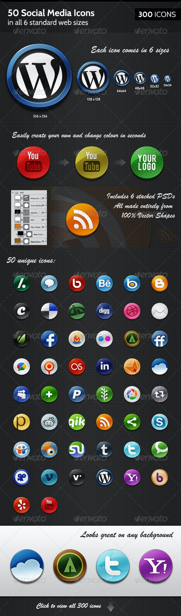 50 Badge-like Social Media Icons, in 6 sizes - Web Icons