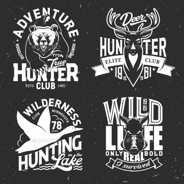 Deer, Duck, Bear and Boar T-shirt Print Mockup