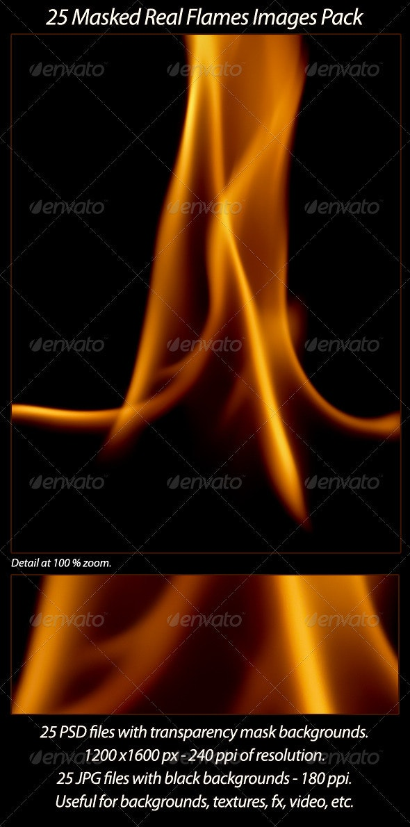 25 Real Flames Pack - Flourishes / Swirls Decorative