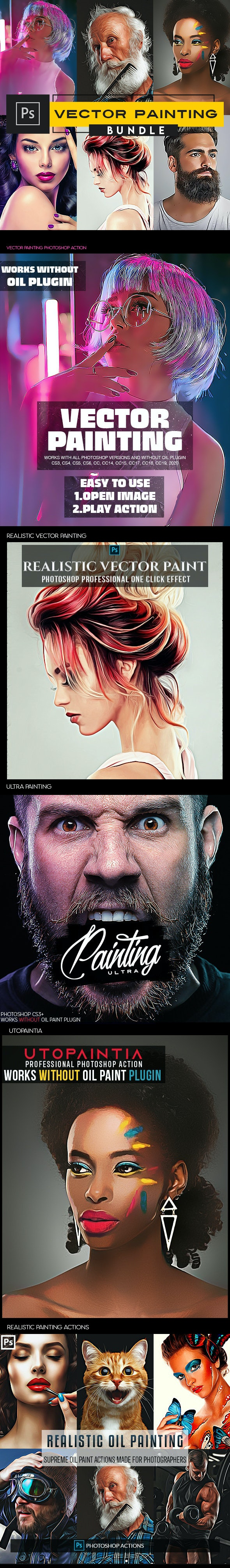 Vector Painting Photoshop Actions - Photo Effects Actions