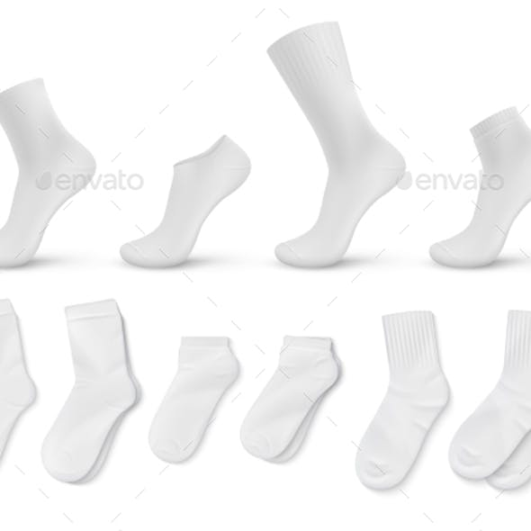 Realistic Socks White Empty Isolated Foot Wear
