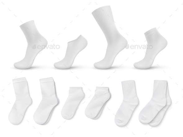 Realistic Socks White Empty Isolated Foot Wear - Man-made Objects Objects