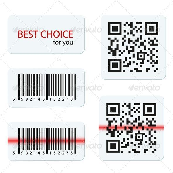Vector barcode and qr code for your design - Miscellaneous Conceptual
