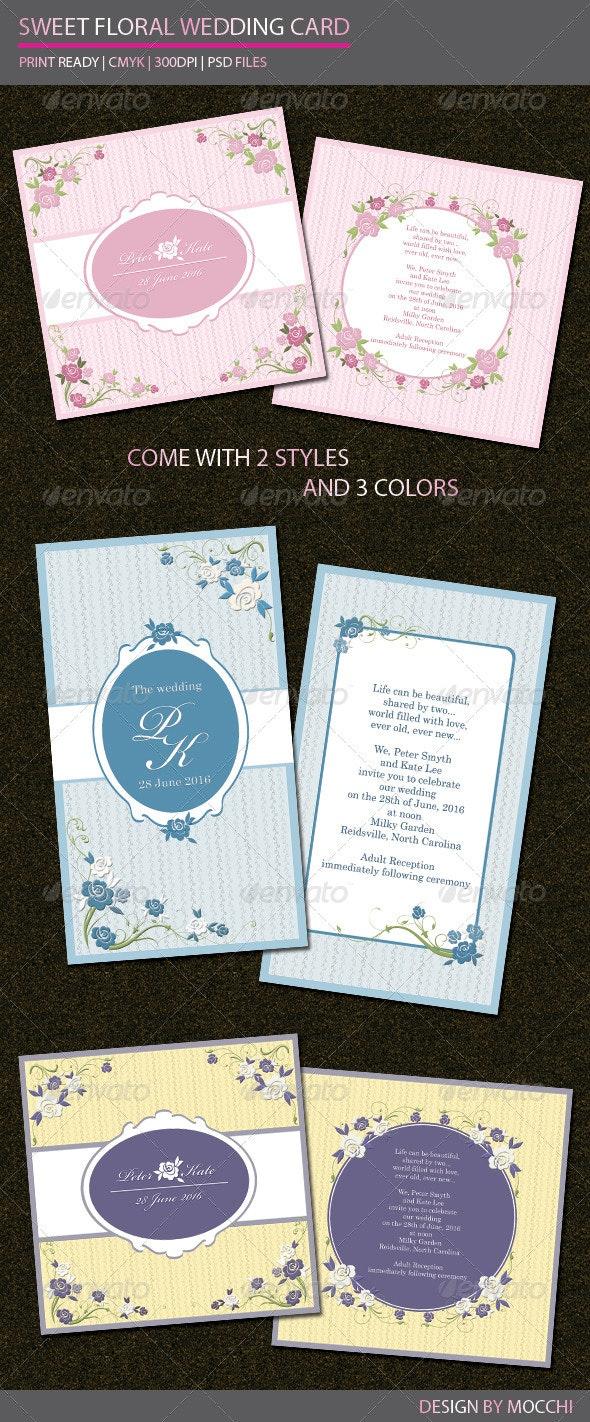 Sweet Floral Wedding Card - Weddings Cards & Invites