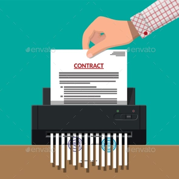 Hand Putting Contract Paper in Shredder Machine.