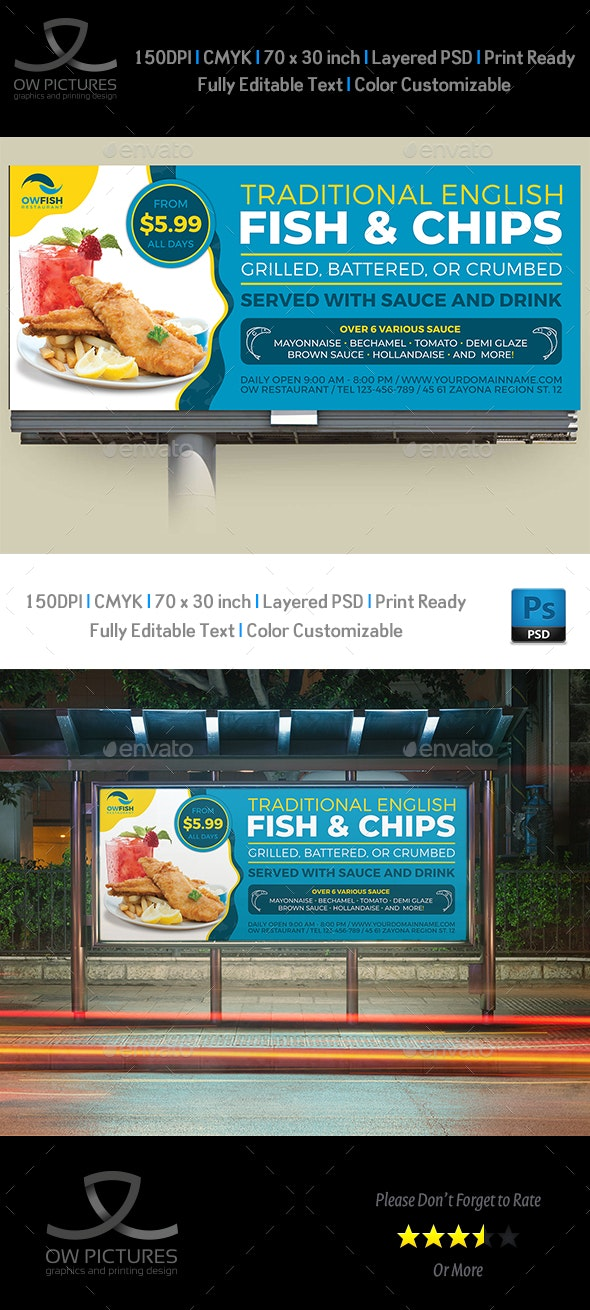 Fish and Chips Restaurant Billboard Template - Signage Print Templates