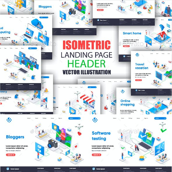 Collection Isometric Landing Pages